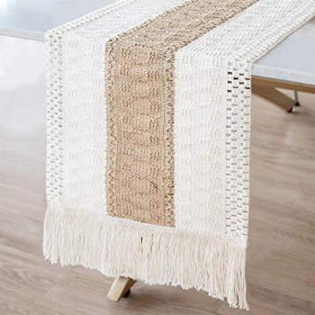 AerWo Macrame Table Runner Splicing Cotton and Burlap Table