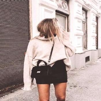 Black Skirt & Oversized Sweater Outfit