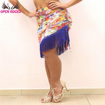 .Colorful and original Open Rocks skirt with adjustable cord in multicolored floral pattern with bl