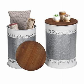 Farmhouse Accent Side Table, Rustic Storage Ottoman Seat