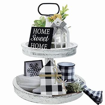Farmhouse Decor, Two Tiered Tray White with 3 Wood Cute