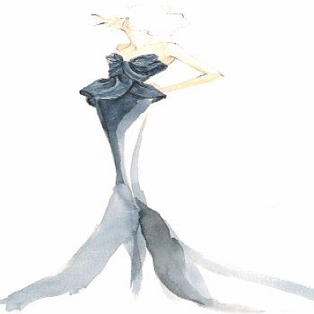 Fashion illustration showcasing a dress inspired by Disney character Ariel by Marchesa via Mail Onl