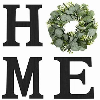 Hanging Wood Home Sign with Artificial Eucalyptus Wreath for