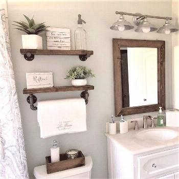 INDUSTRIAL PIPE SHELF WITH TOWEL BAR SET -   -