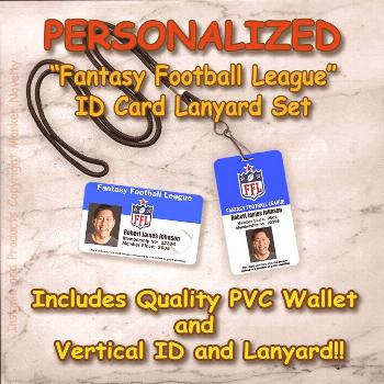 Personalized Fantasy Football League Quality PVC Photo ID's and Lanyard Set NFL