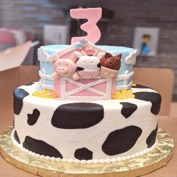 Pink Farm themed birthday cake/party for my daughter ?! This is my husband's design, put togethe