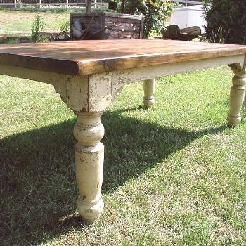 The Cottage Farm Table is a beautiful hand-crafted table constructed from yellow pine with each leg
