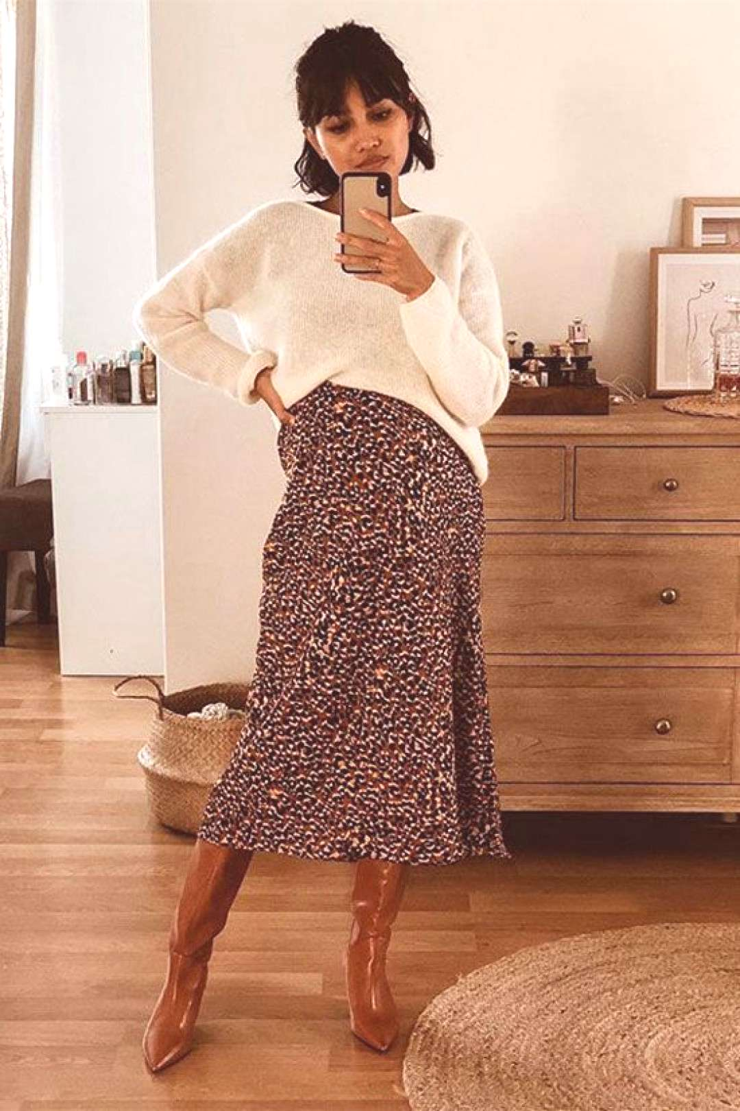 6 Reasons To Love The Midi Skirt And Boots Combo Fashion Blogger Sherlock Diary wearing a white