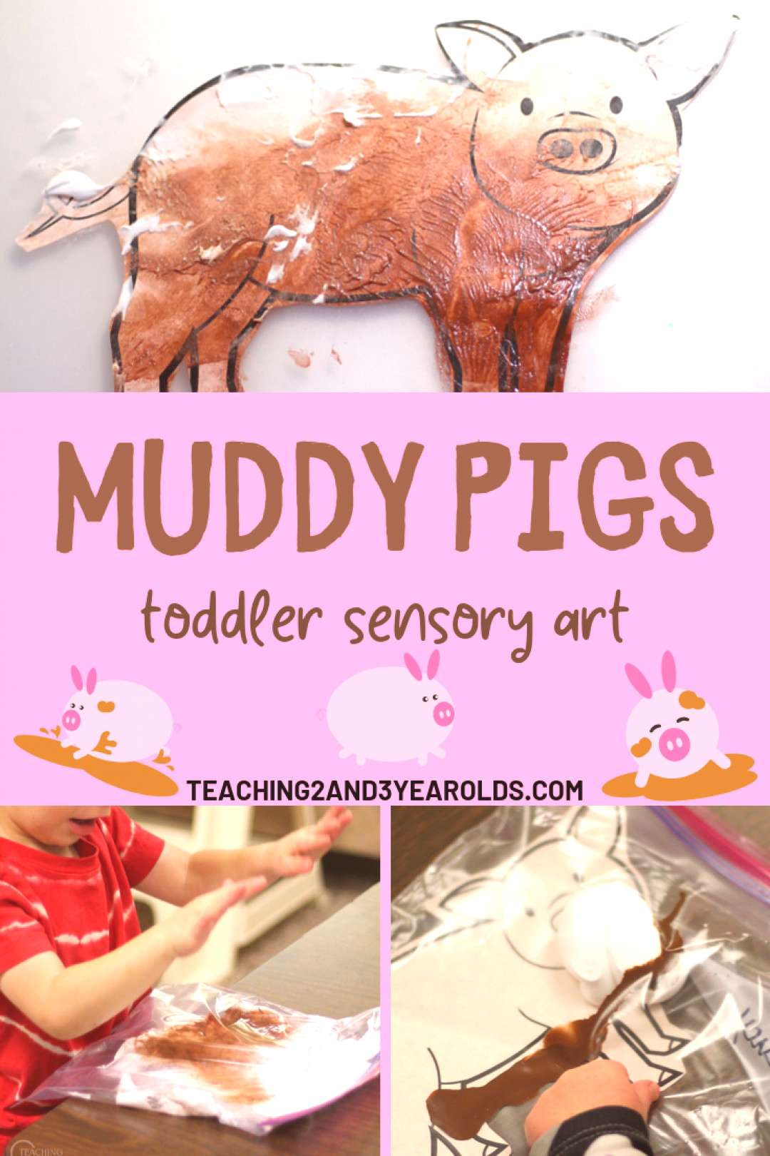Add some sensory art to your toddler farm theme with this fun muddy pig activity! Comes with a free