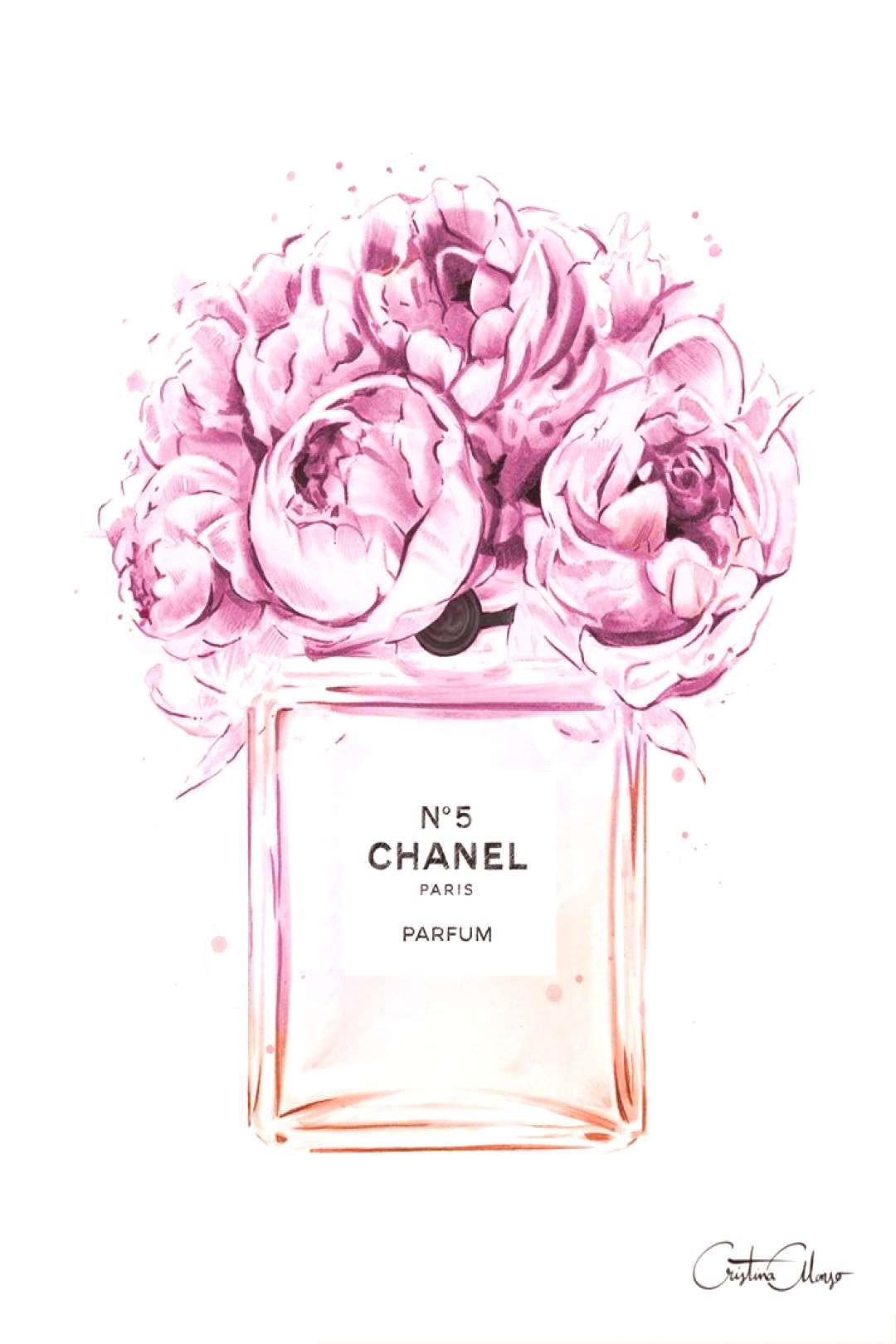 Art Print of Peonies à Coco, by Fashion Illustrator Cristina AlonsoHand signed and embellished i