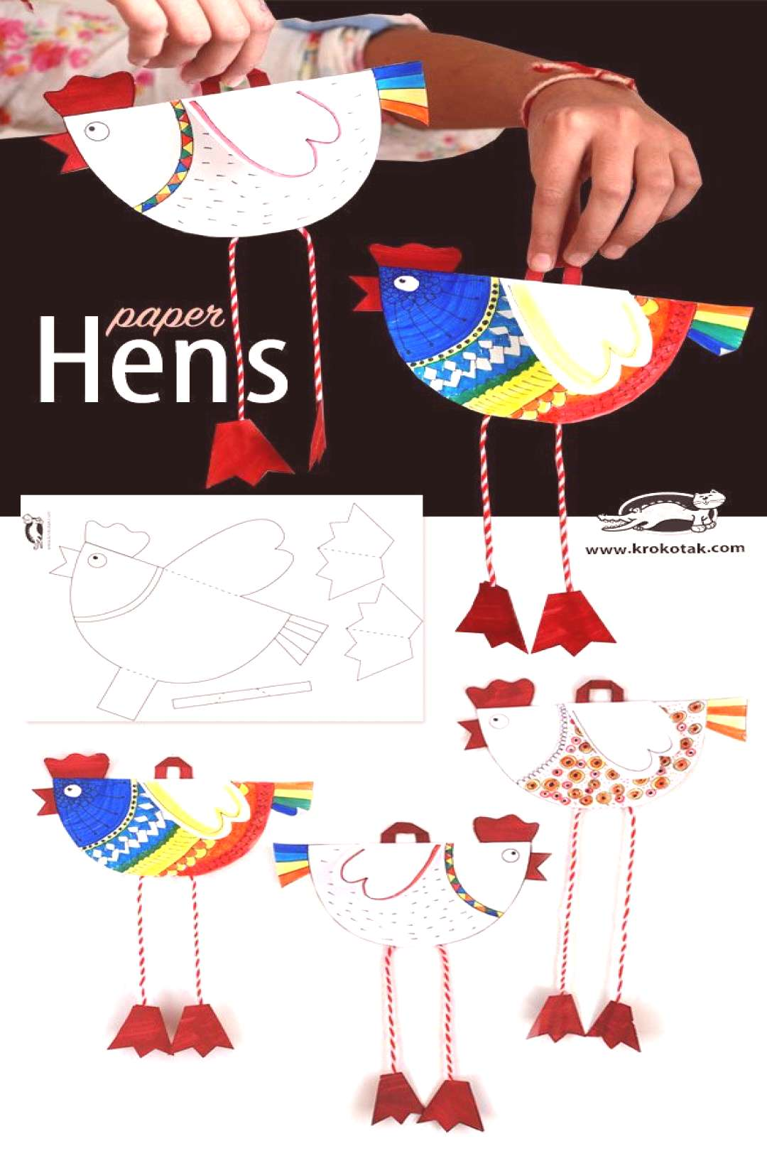Cute and fun printable hen puppet. Great craft to go with a chicken lesson (and the new Hens for Fr