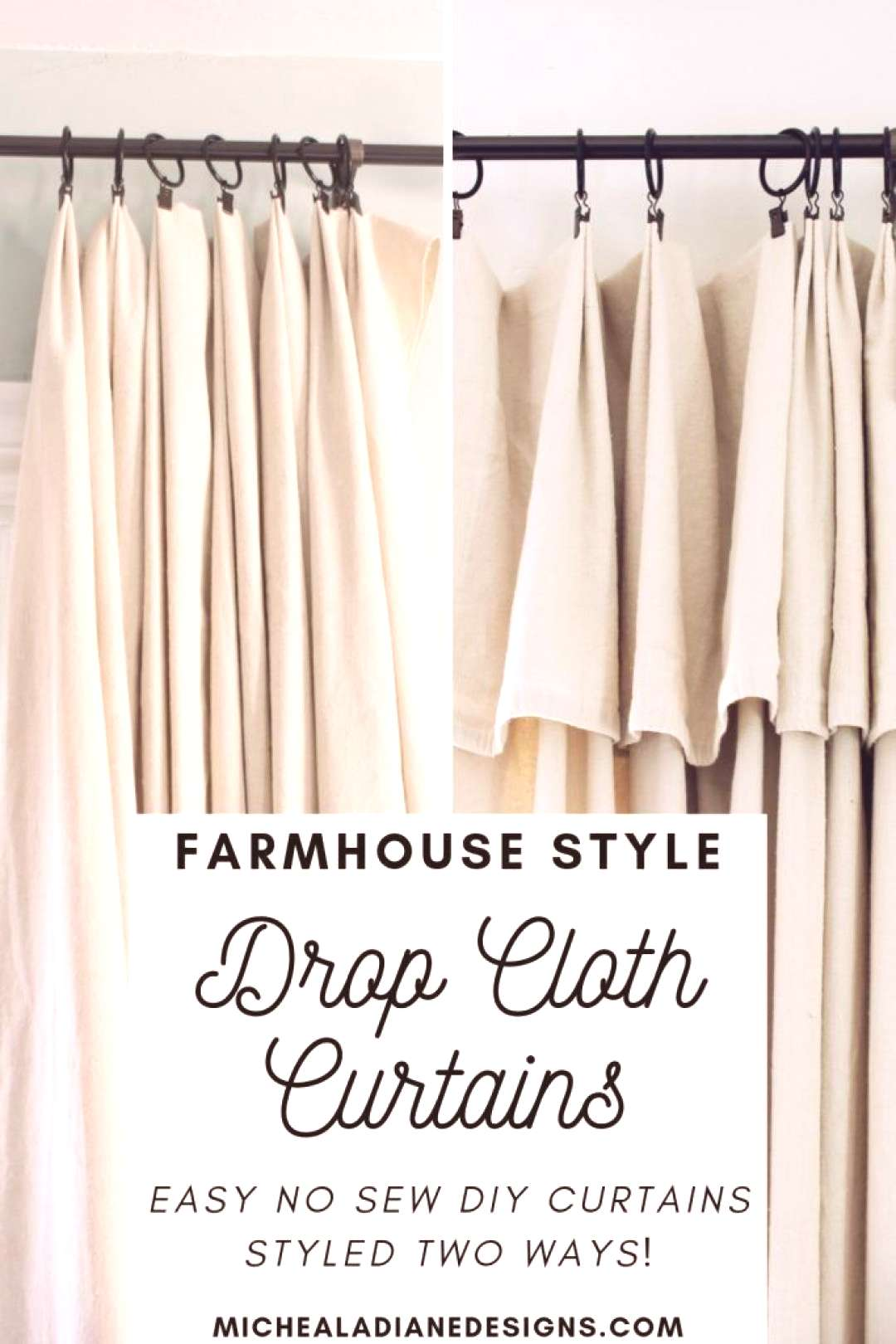 Easy, inexpensive, no sew, DIY farmhouse drop cloth curtains styled 2 different ways!