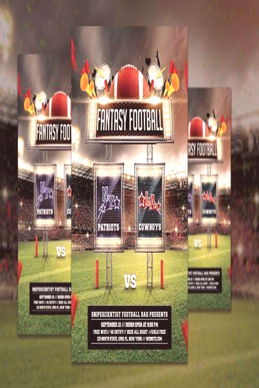 Fantasy Football Game Flyer Template by SNIPESCIENTIST on @creativemarket