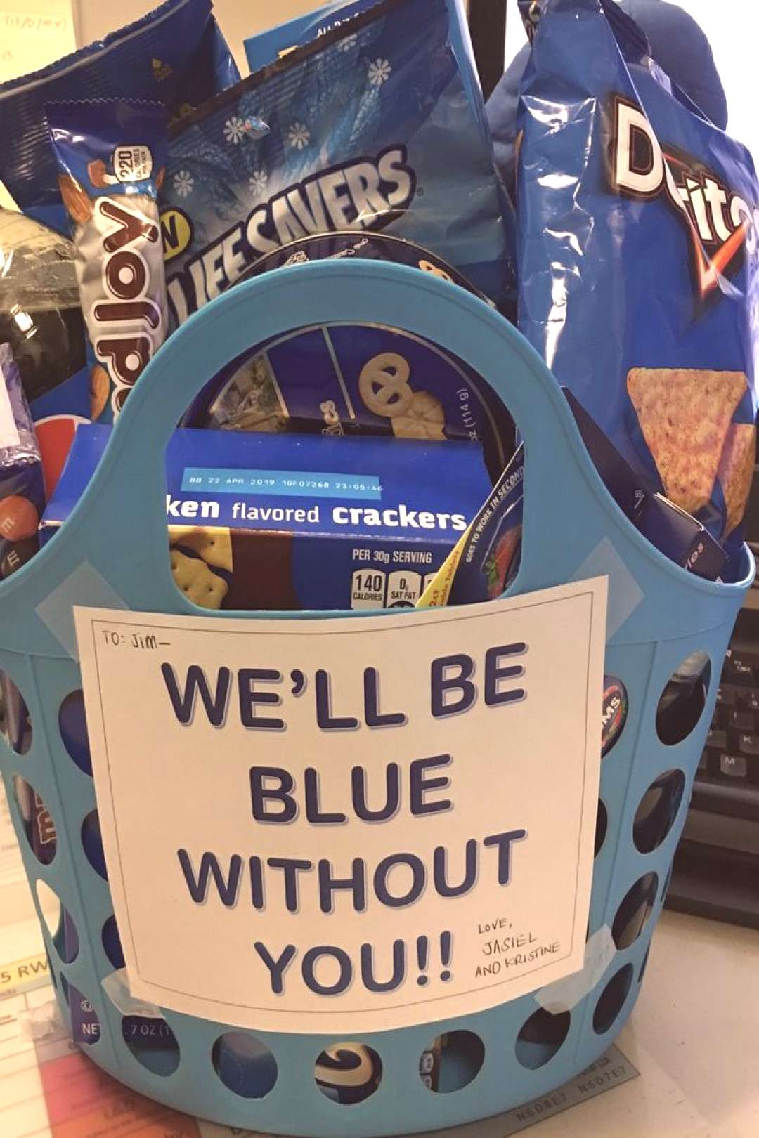 """Farewell Gift Basket for coworker transferring, leaving, and/or retiring, etc. All """"blue"""" color"""