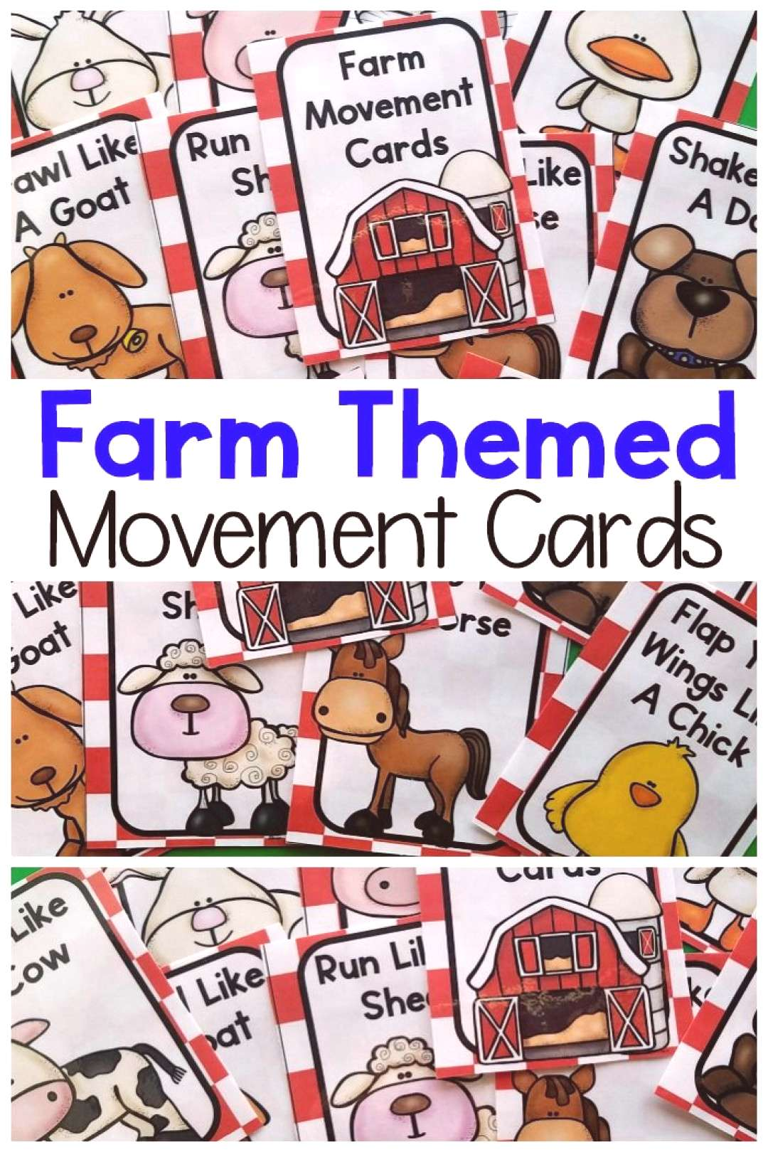 Farm themed activities that involve movement! These are perfect for your farm themed preschool or