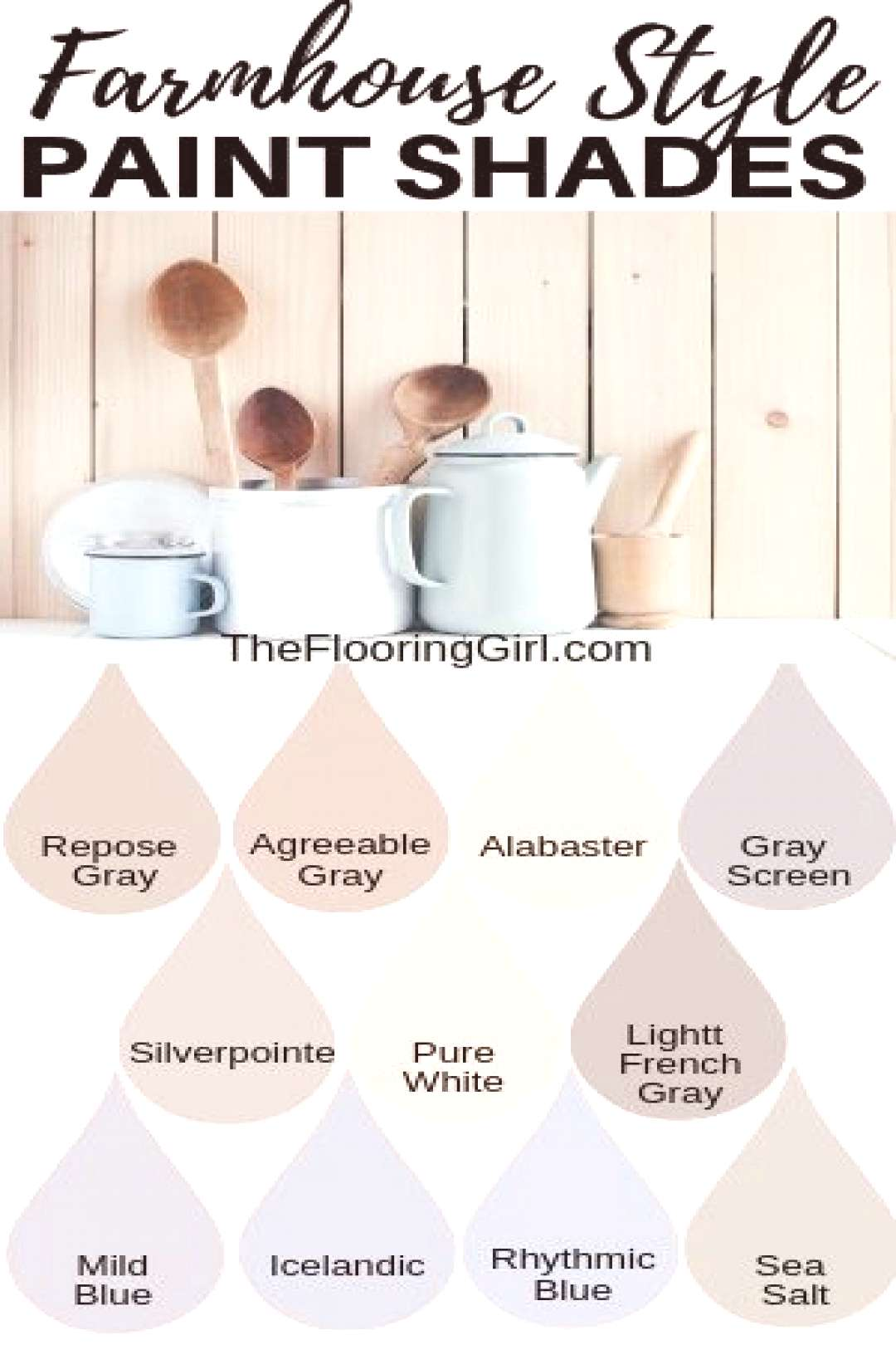 Farmhouse style paint shades from Sherwin Williams. These modern farmhouse style shades will transf