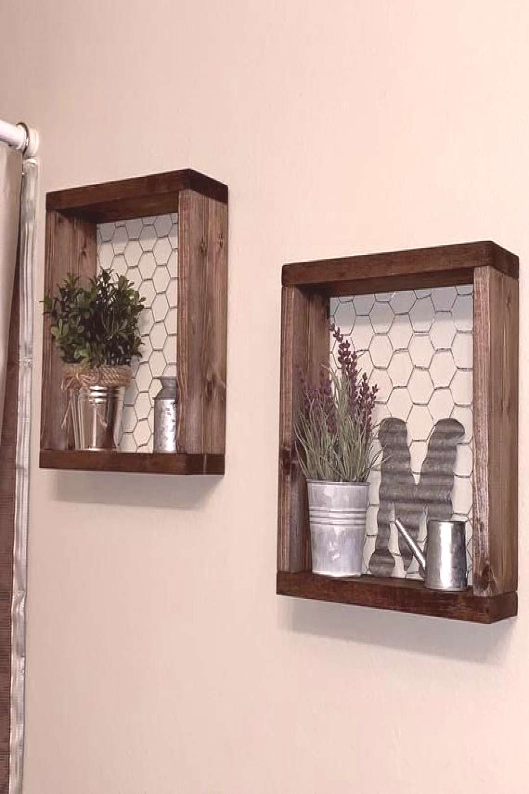 Farmhouse Style Shelves, Set of two Chicken Wire Shelves, Gallery Wall Decor, Bathroom Wall Decor F