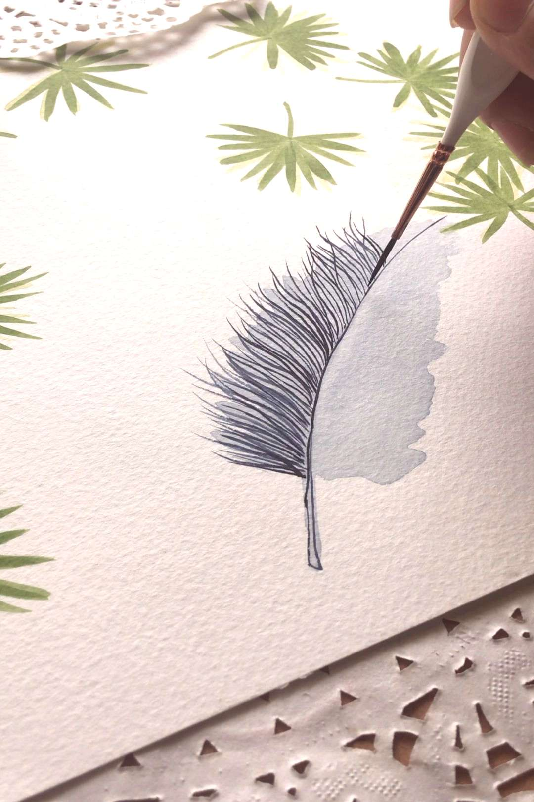 Feather painting This loose style feather painting is in watercolour. I used our handmade Indian in