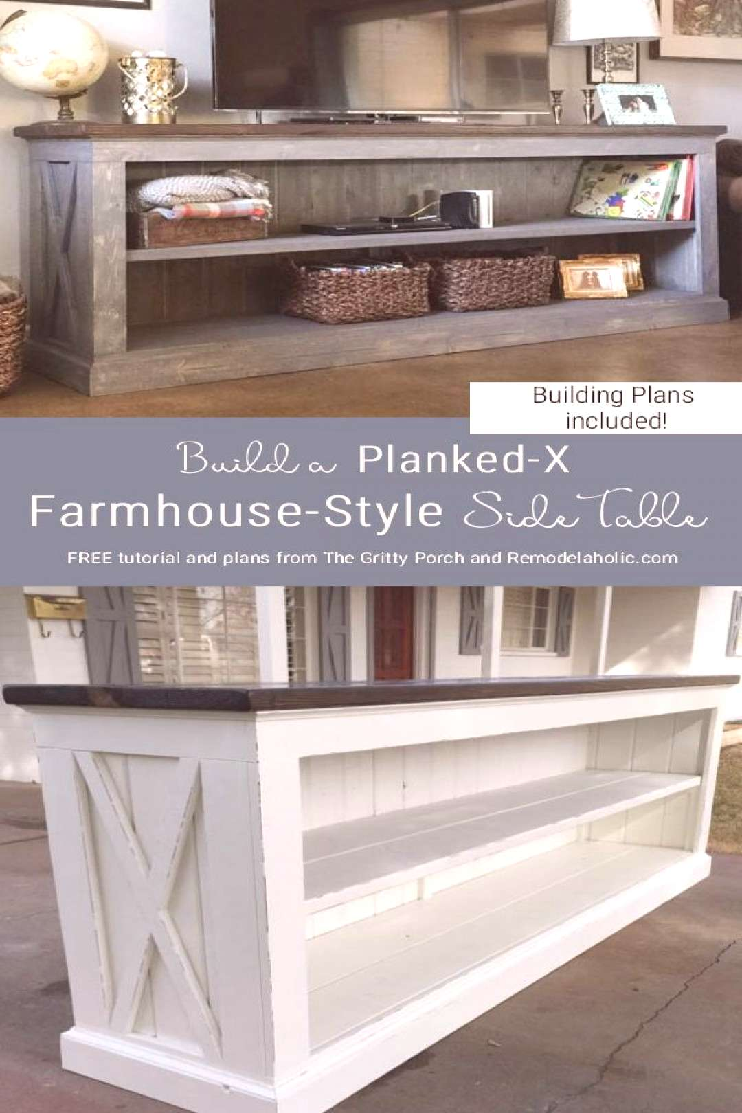 Free Building Plans For Farmhouse Style Sideboard Table, Tv Console Table, By The Gritty Porch Feat