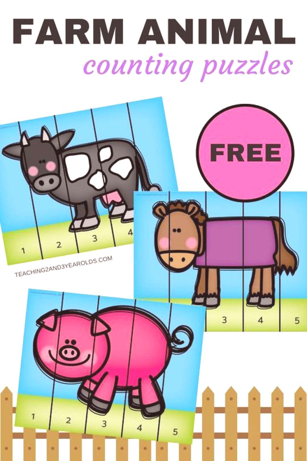 Free farm animal counting puzzles - cow, horse, pig - for toddlers and preschoolers. Perfect to go