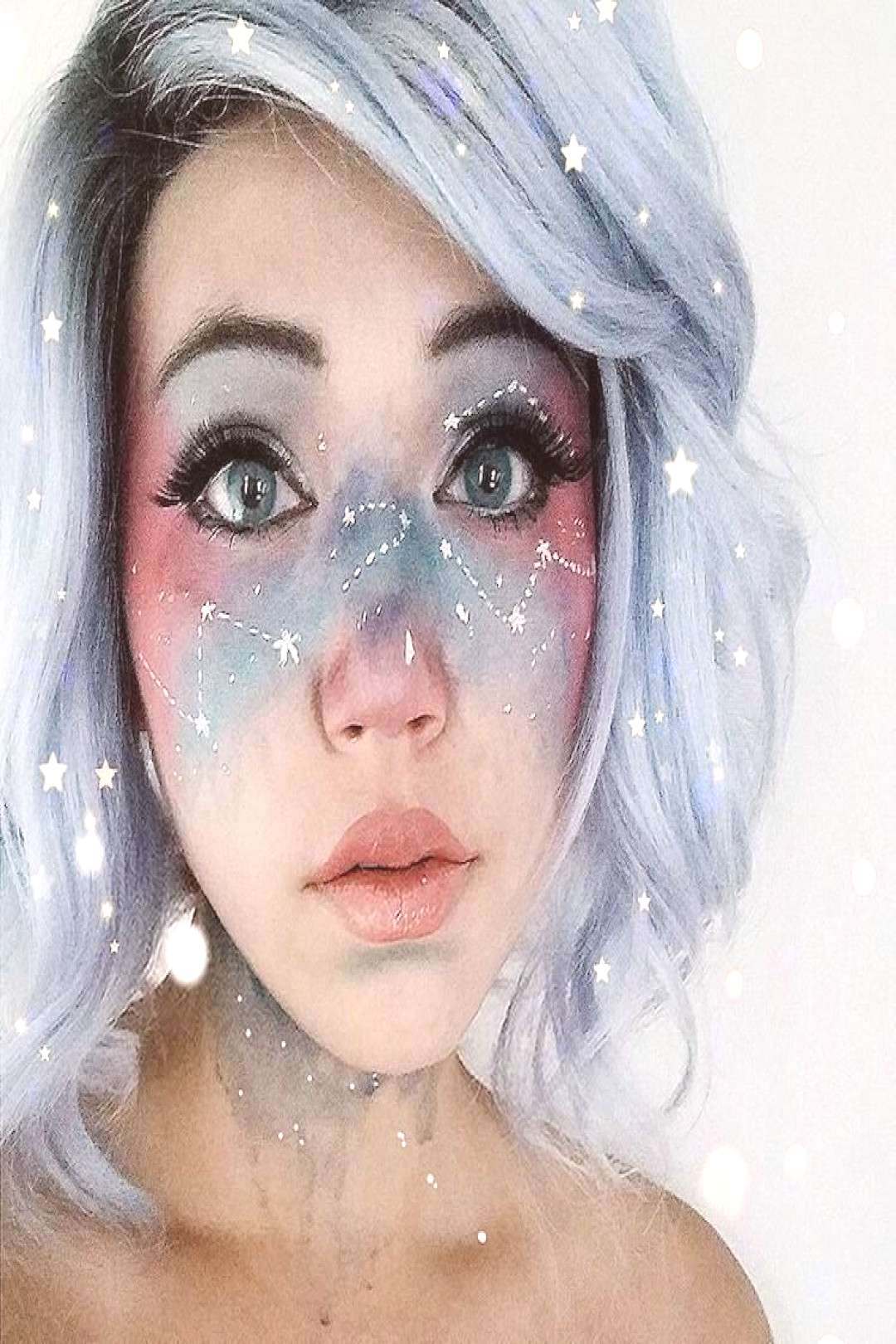 Galaxy Face Makeup Creates the Swirling Cosmos Across the Skin