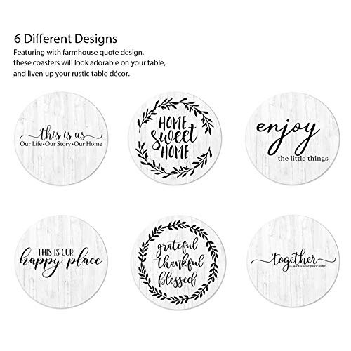 Hoomey Coasters for Drinks, Set of 6 Absorbent Drink