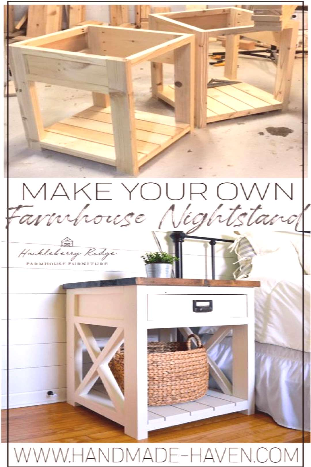 How to make a farmhouse night stand or side table for your home living room or bedroom.