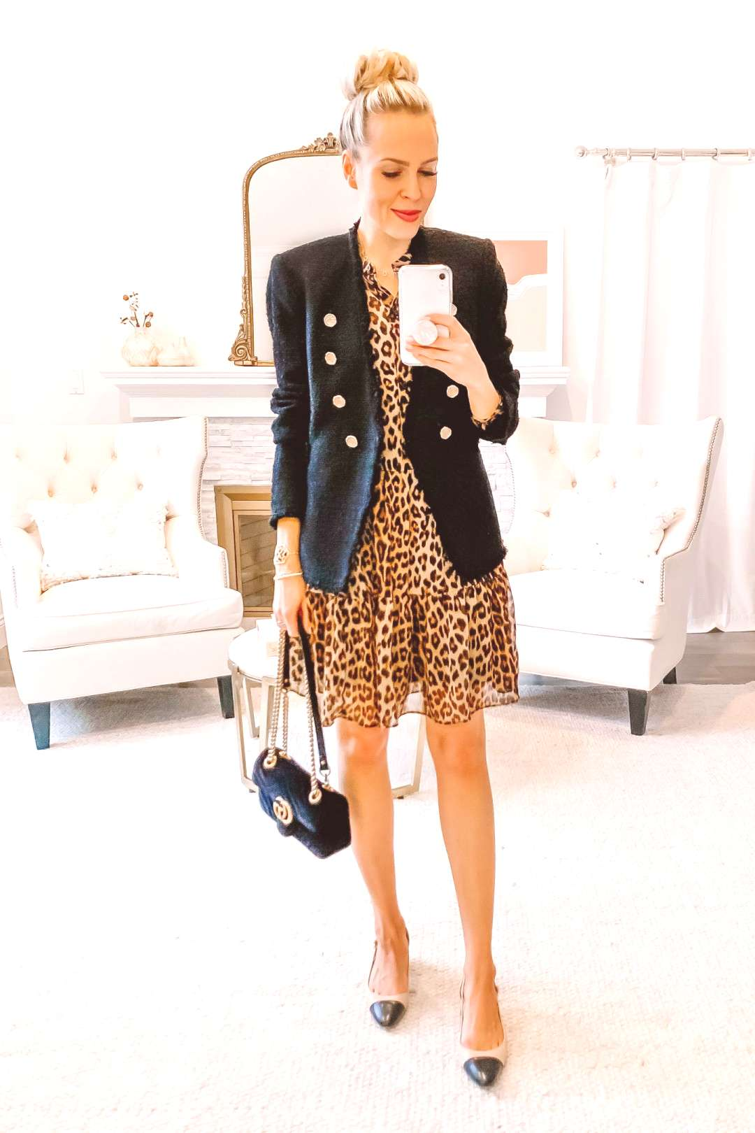 How to style leopard print 5 ways   Lombard and Fifth HampM leopard chiffon dress styled Five Ways, f