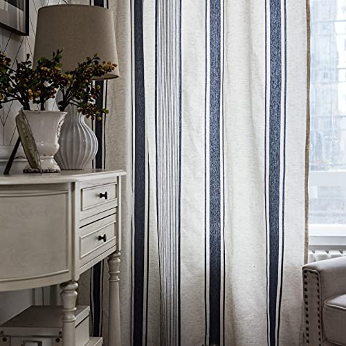 Lahome French Stripe Window Curtains - 2 Panels Semi
