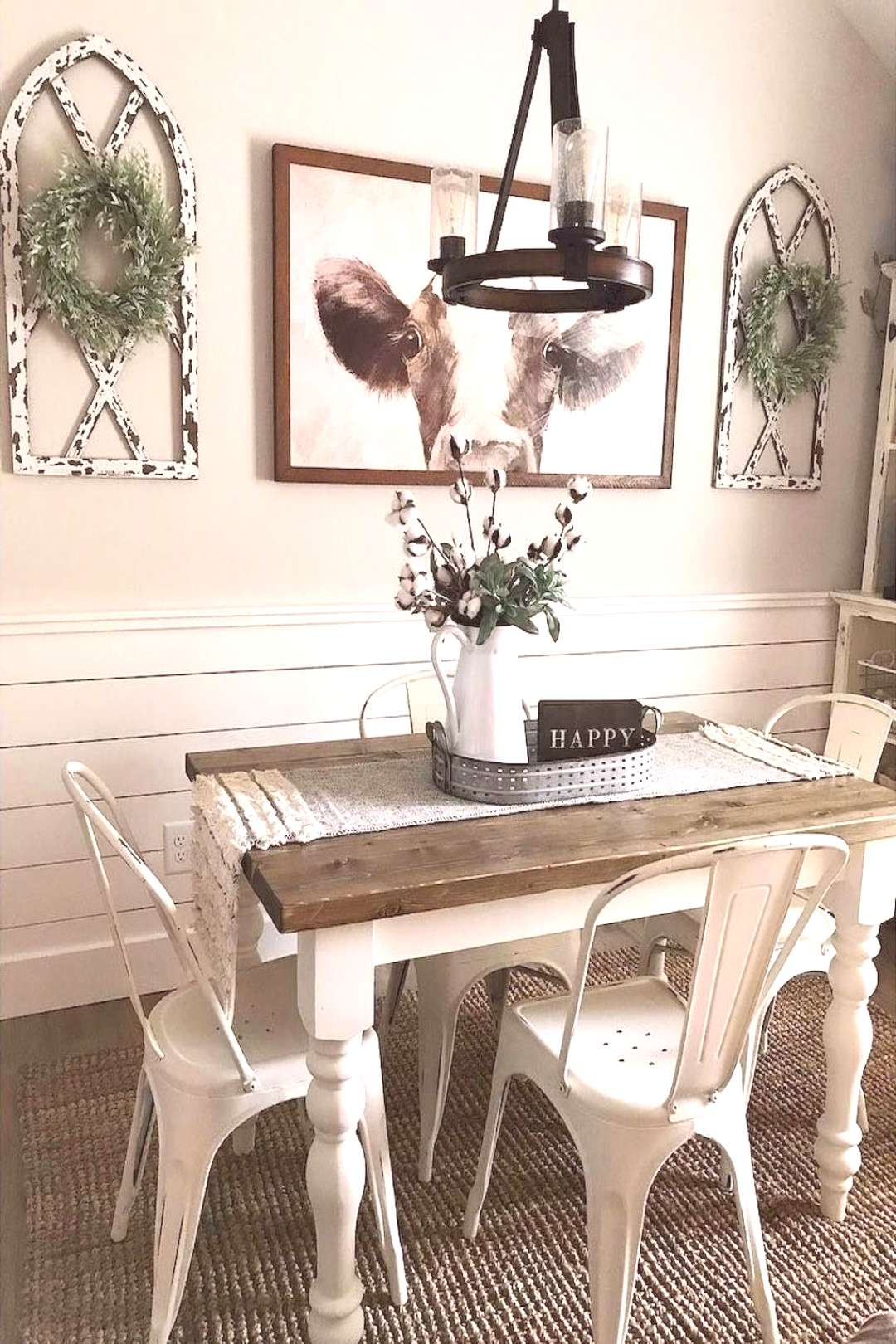 Like this idea and colors with whites and wood, just bigger table and bigger light