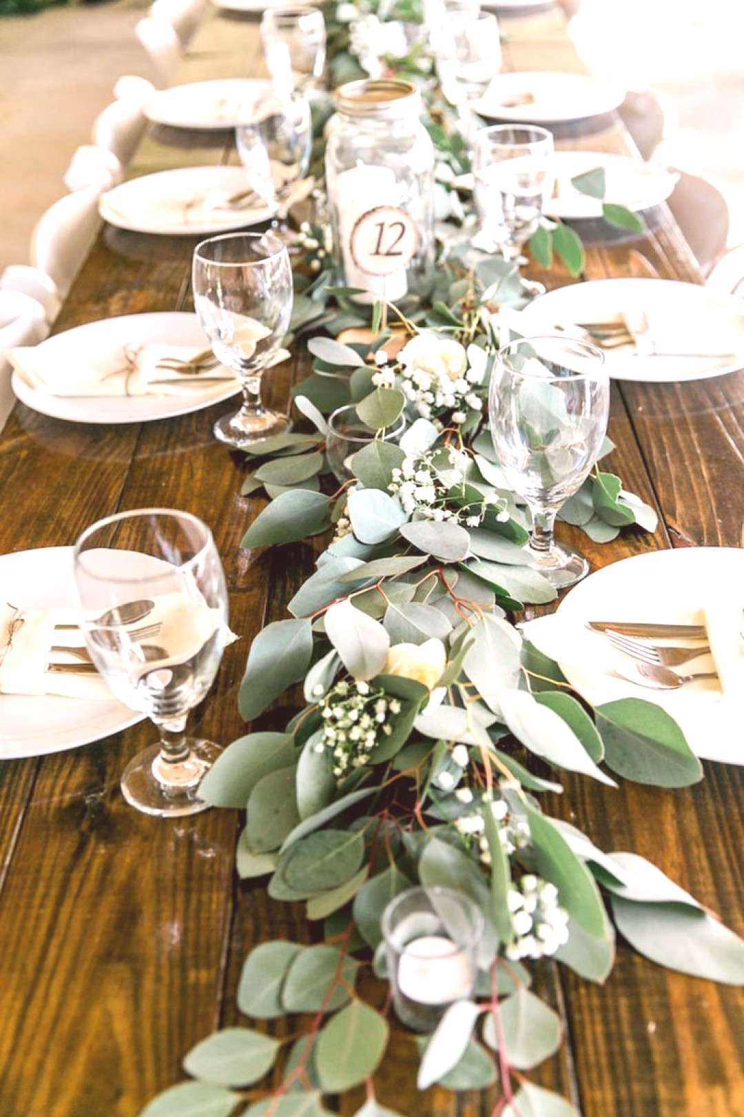 Long Feasting Table with Garland Greenery Centerpieces and Wooden Farm Tables     Rustic, Country W
