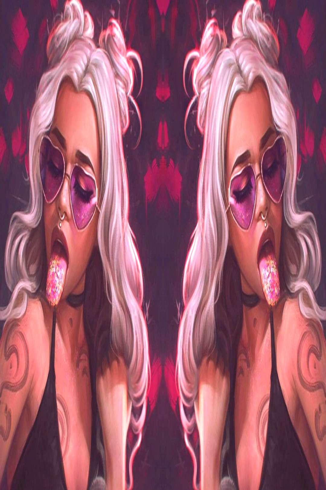 neon lights science fiction fantasy art women angel Woman in Red futuristic city women with glasses