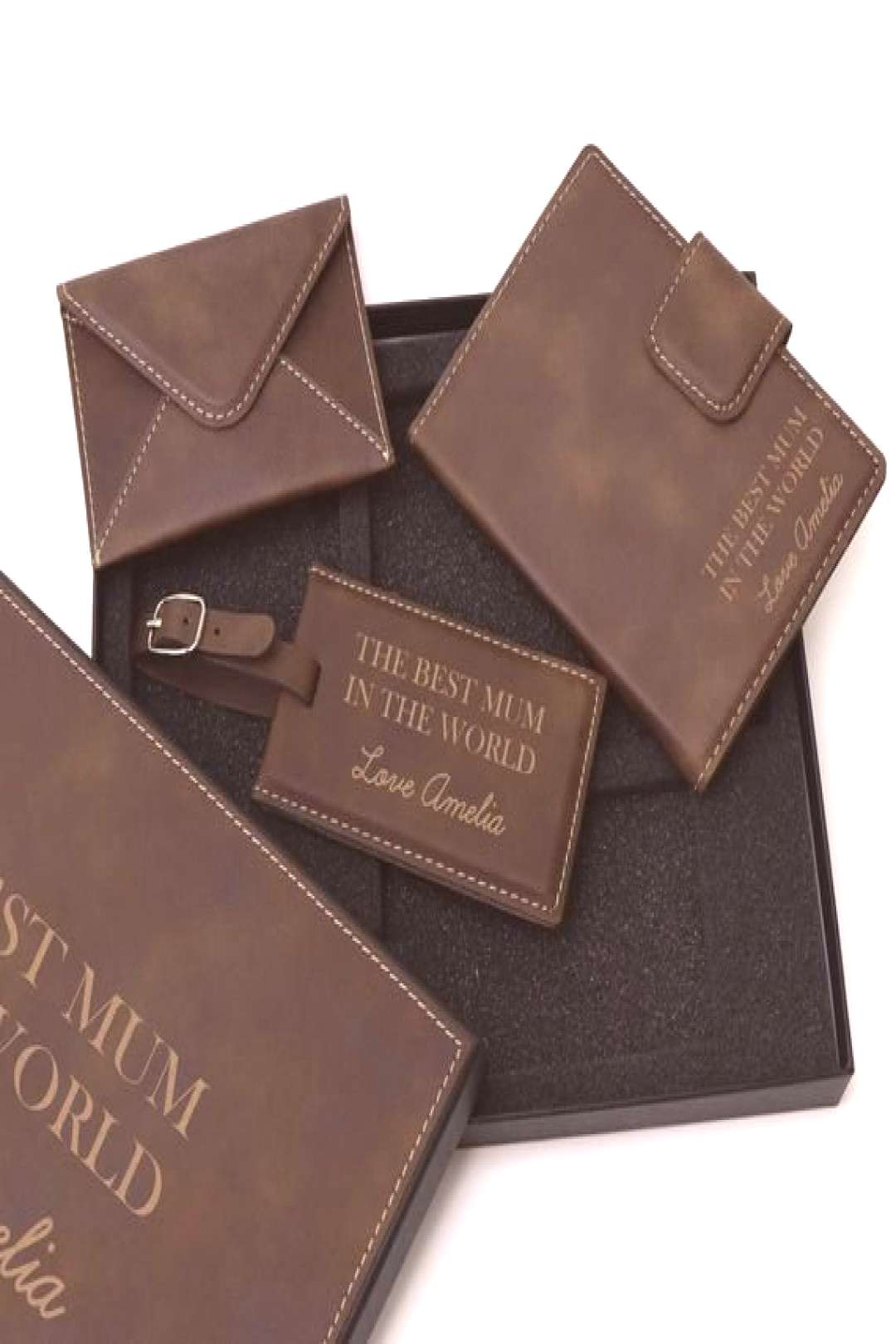 Personalised Travel Gift Set Mothers Day Brown - Affordable gifts for Mum - Personalised Farewell G