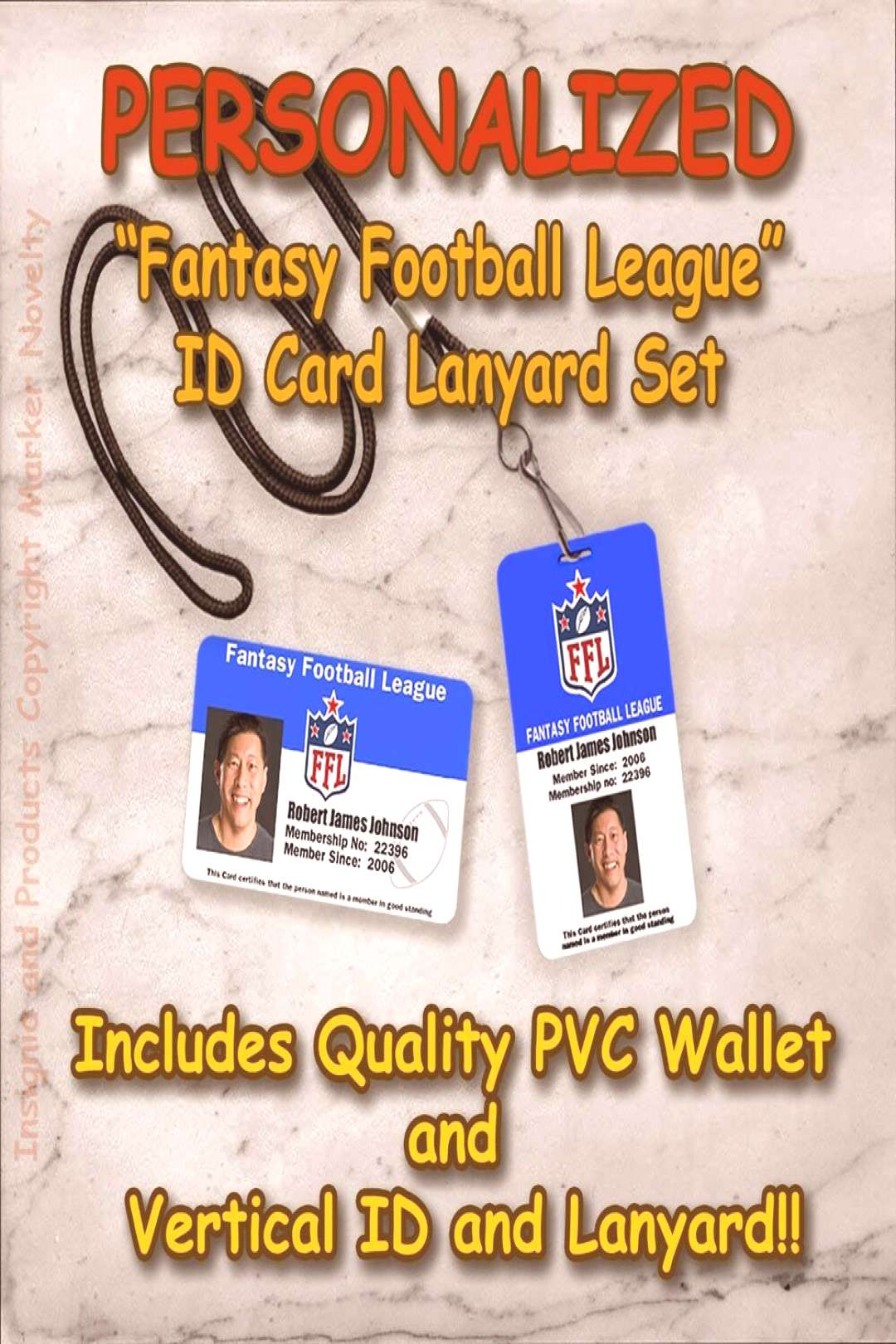 Personalized Fantasy Football League Quality PVC Photo IDs and Lanyard Set NFL