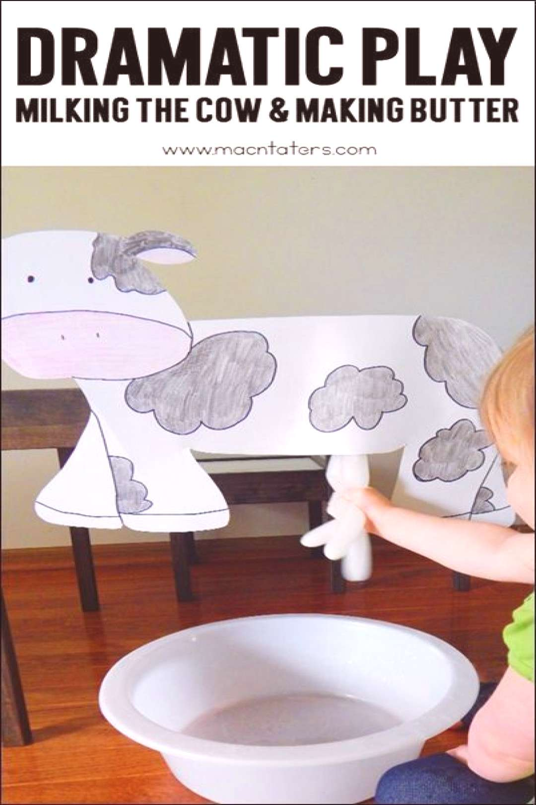 Pretend play is an important part of childhood. This dramatic play milking the cow activity is perf