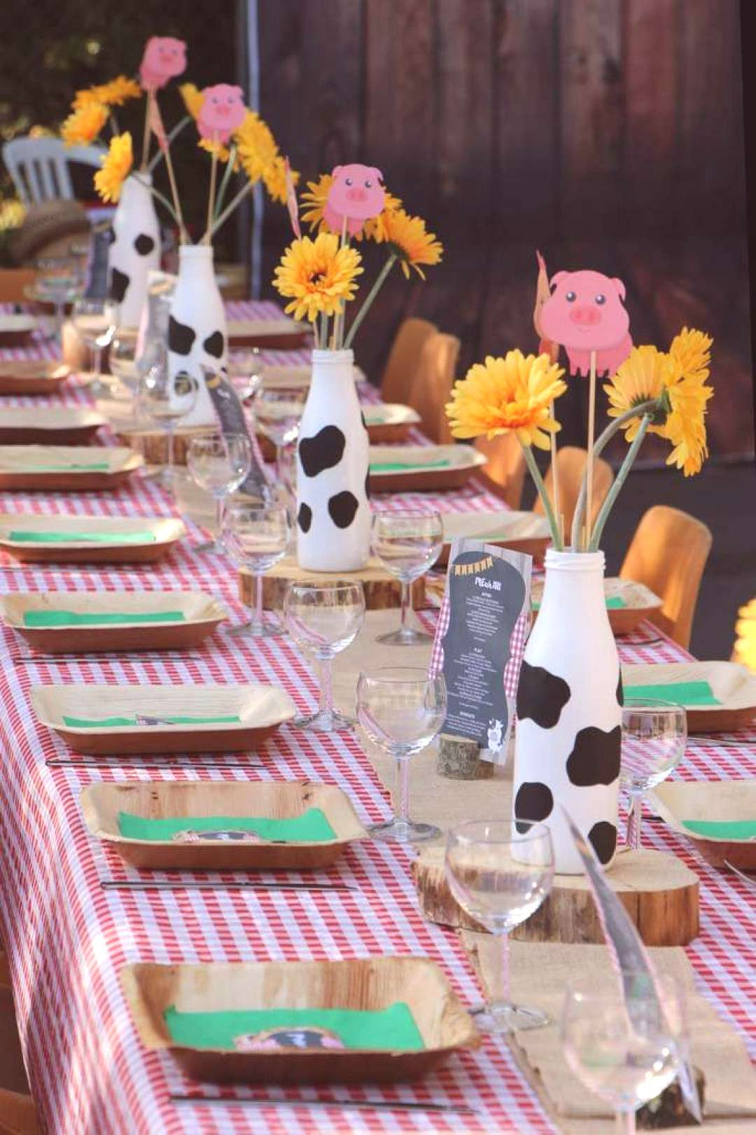 Take a look at this lovely farm themed birthday party! The table settings are gorgeous! See more p