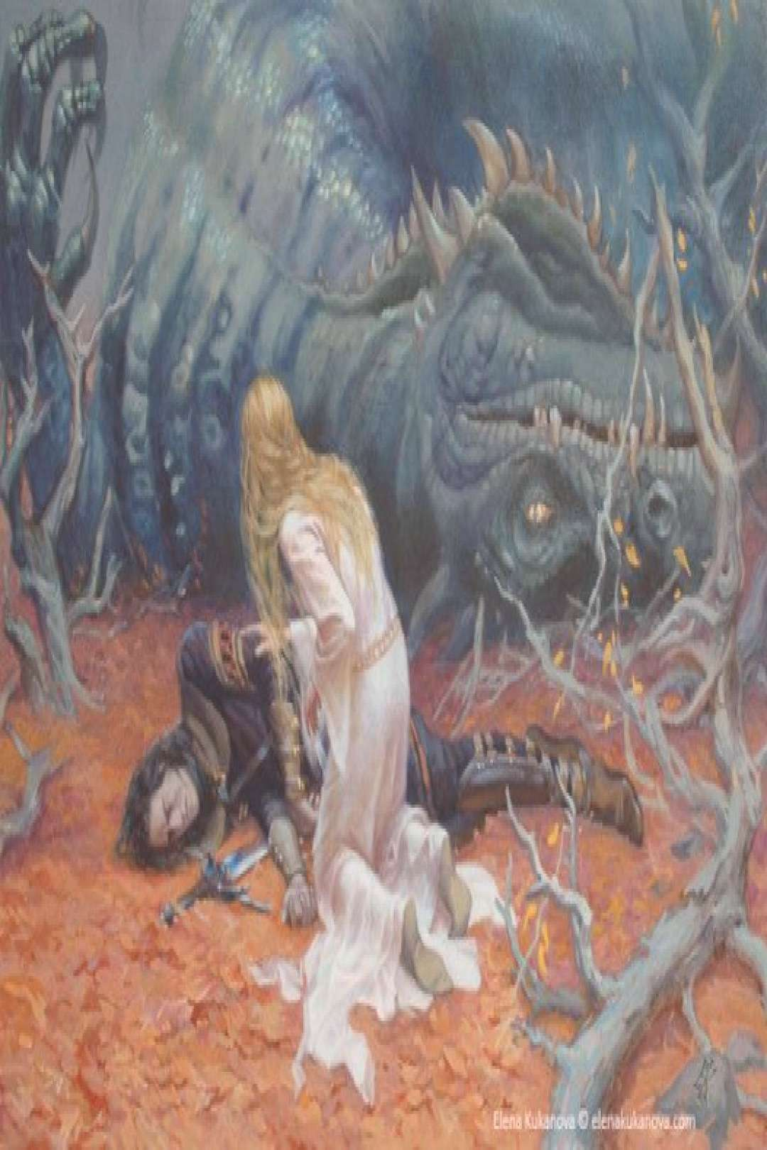 The death of Glaurung Nienor comes to the place of the battle and try to wake up Turin