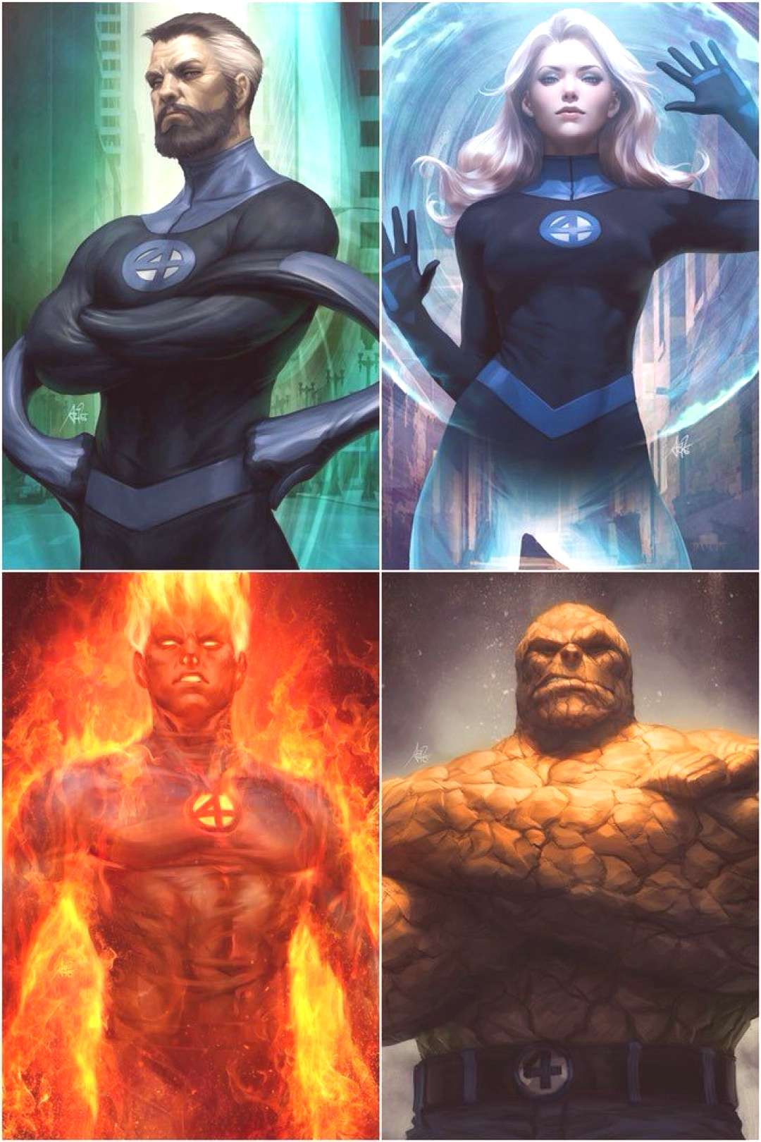 The team Fantastic Four is a representation of the four elements ) Water(Reed), Wind (Sue), Fire(J