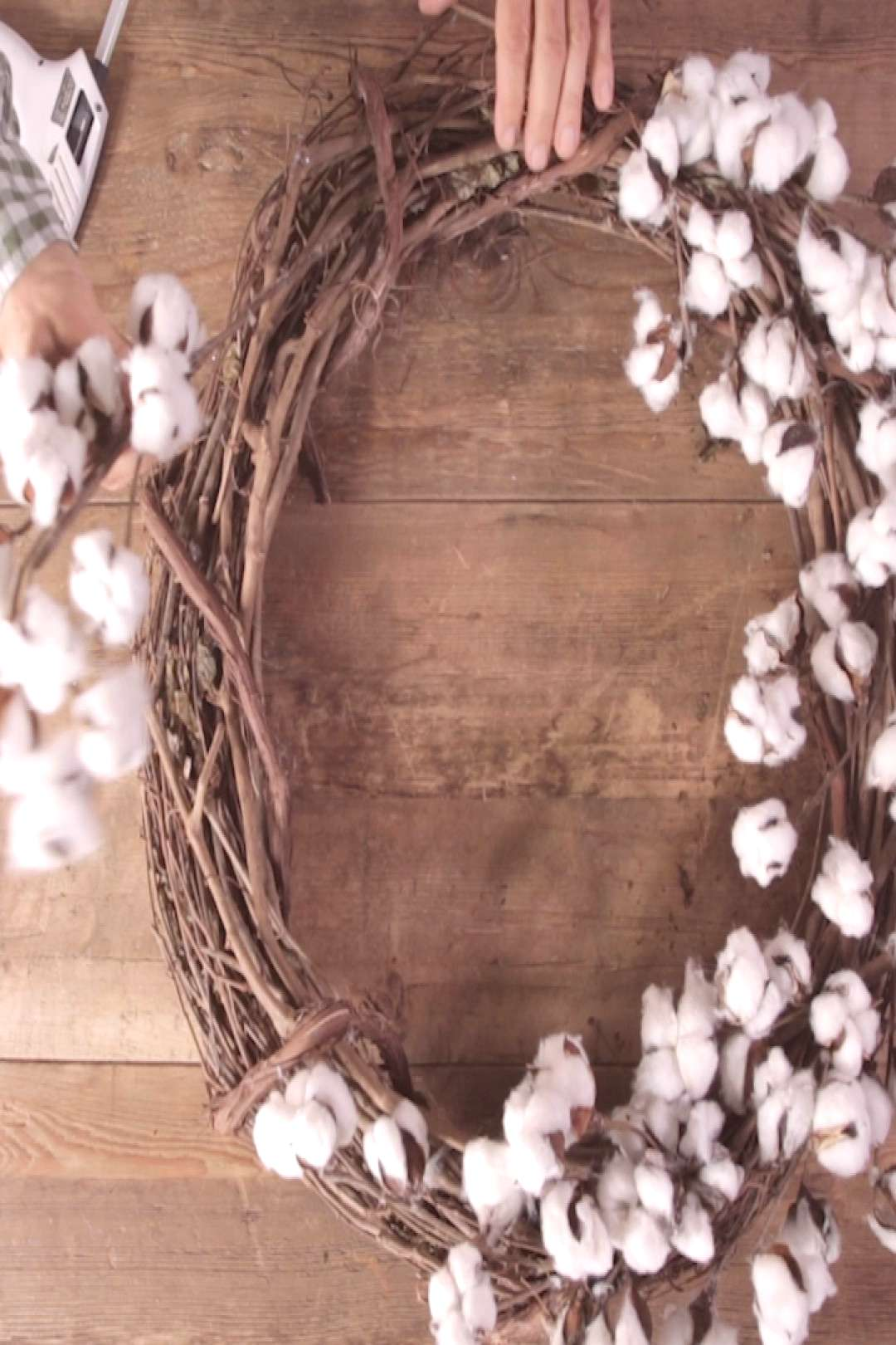 This DIY Cotton Wreath Comes Together in Just Minutes Add modern farmhouse style to your fall front